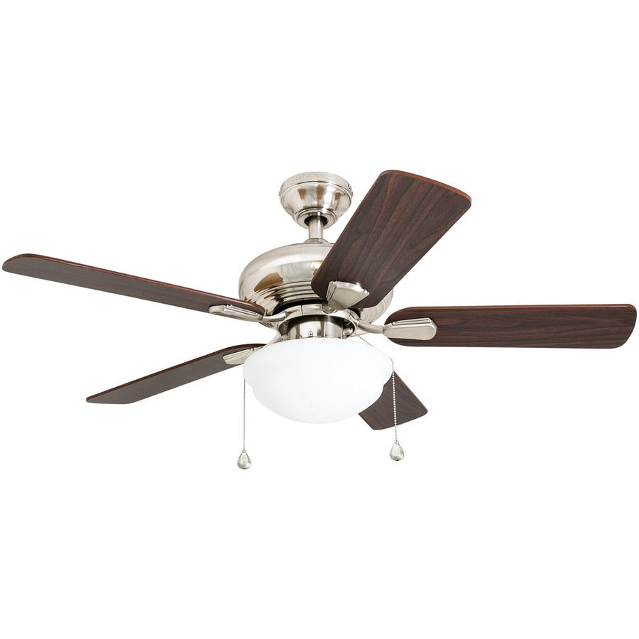Harbor Breeze Caratuk River 52-in Brushed Nickel Indoor Downrod Mount Ceiling Fan with Light Kit
