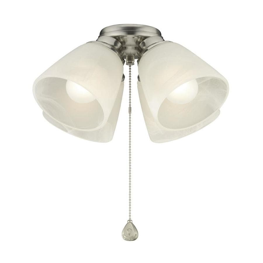 Harbor Breeze 4-Light Brushed Nickel Incandescent Ceiling Fan Light Kit with Alabaster Shade