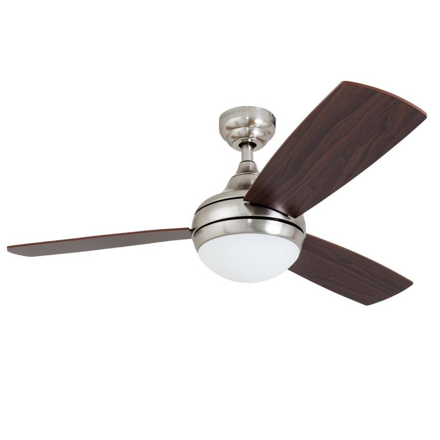 Harbor Breeze Sauble Beach 44-in Brushed Nickel Downrod or Close Mount Indoor Ceiling Fan with Light Kit with Remote (3-Blade)