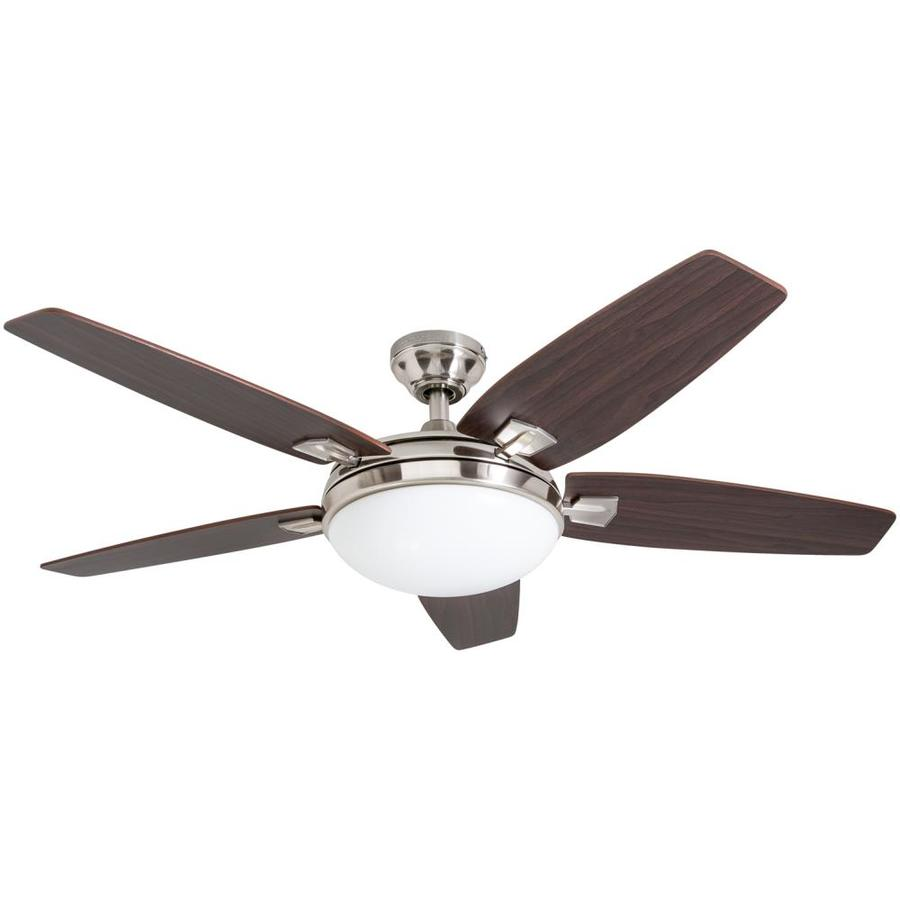 Harbor Breeze Northumberland 48-in Brushed Nickel Indoor Downrod Or Close Mount Ceiling Fan with Light Kit and Remote