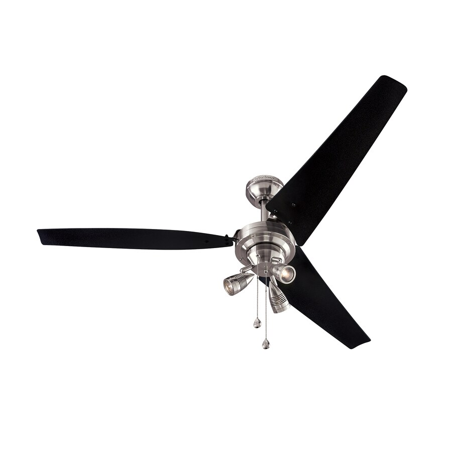 Harbor Breeze Jaffrey 56-in Brushed Nickel Indoor Downrod Or Close Mount Ceiling Fan with Light Kit (3-Blade)