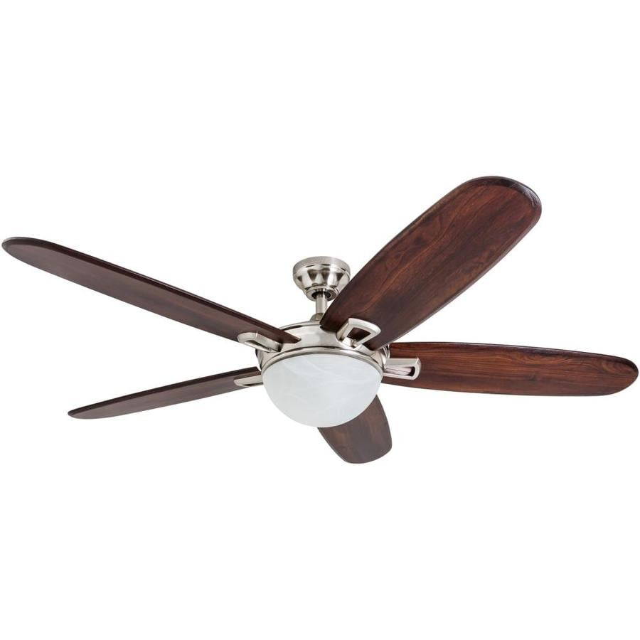 Harbor Breeze Grand Bay 56-in Brushed Nickel Downrod or Close Mount Indoor Ceiling Fan with Light Kit and Remote