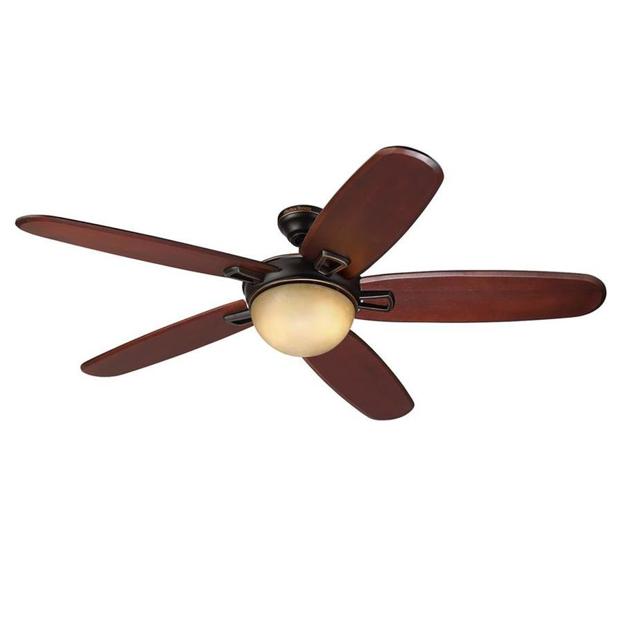 Harbor Breeze Grand Bay 56-in Oil Rubbed Bronze Downrod or Close Mount Indoor Residential Ceiling Fan Standard Included Remote Control Included (5-Blade)