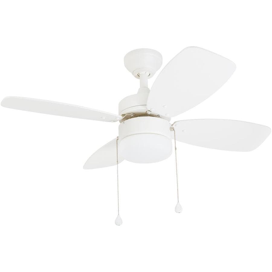 Harbor Breeze Riverview 36-in White Indoor Downrod Or Close Mount Ceiling Fan with Light Kit (4-Blade)