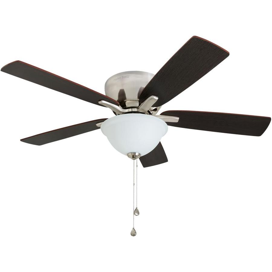 Harbor Breeze Stamont 48-in Brushed Nickel Downrod or Close Mount Indoor Ceiling Fan with Light Kit