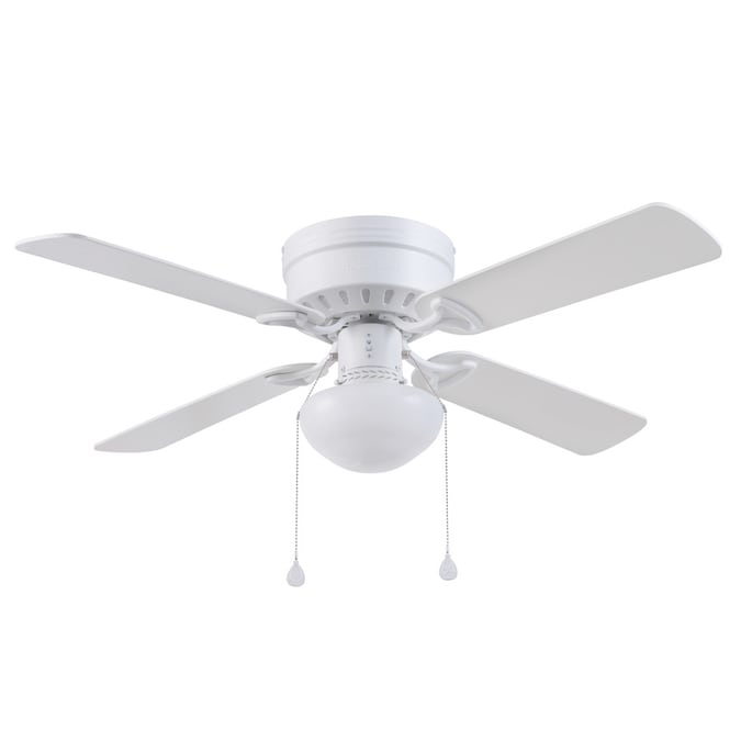 Harbor Breeze Armitage 42 In White Led Indoor Flush Mount Ceiling Fan With Light Kit 4 Blade In The Ceiling Fans Department At Lowes Com