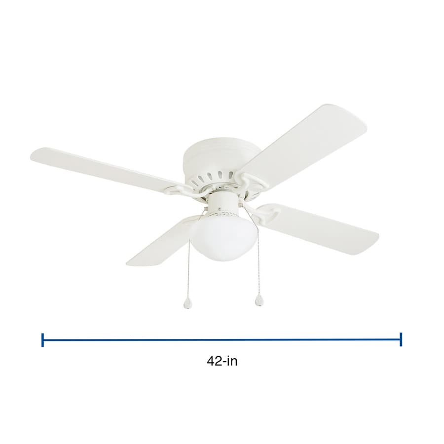 Harbor Breeze Armitage White 42 In Led Indoor Flush Mount Ceiling Fan 4 Blade In The Ceiling Fans Department At Lowes Com