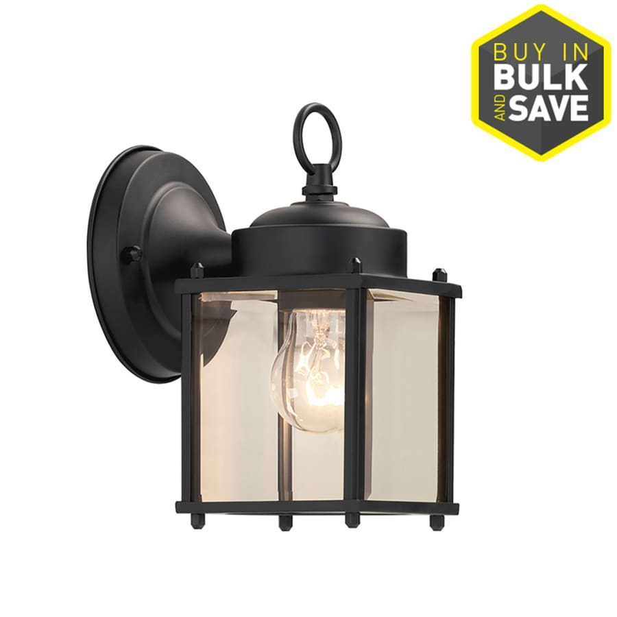 Portfolio 8 25 in h black medium base e 26 outdoor wall light