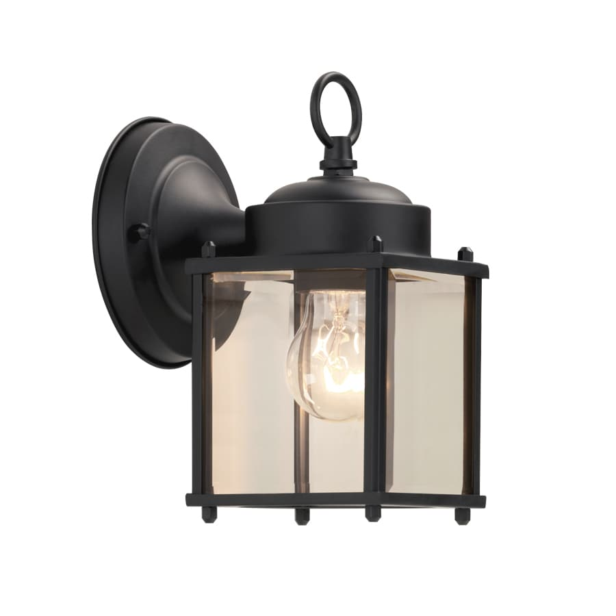 Portfolio 8 25 In H Black Medium Base E 26 Outdoor Wall Light In The Outdoor Wall Lights Department At Lowes Com