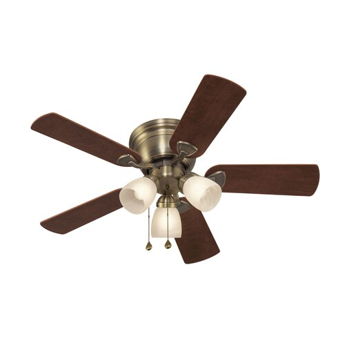 Harbor Breeze Centreville 42 In Antique Brass Led Indoor Flush Mount Ceiling Fan With Light Kit