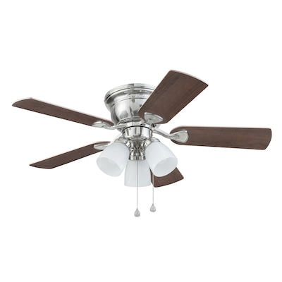 Centreville 42 In Brushed Nickel Led Indoor Residential Flush Mount Ceiling Fan With Light Kit Included 5 Blade