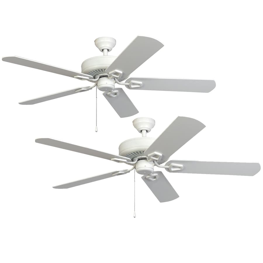 harbor breeze 52in matte white downrod or close mount indoor ceiling fan energy star