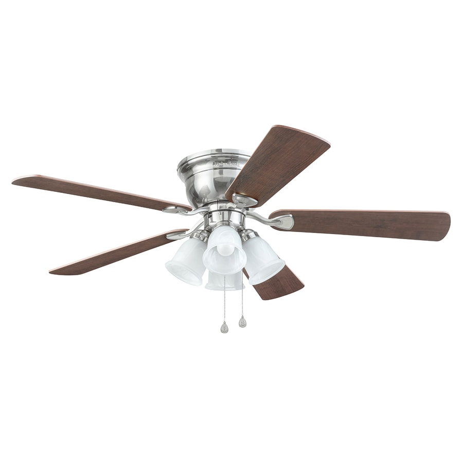 Shop harbor breeze centreville 52 in brushed nickel indoor flush harbor breeze centreville 52 in brushed nickel indoor flush mount ceiling fan with light kit mozeypictures Gallery