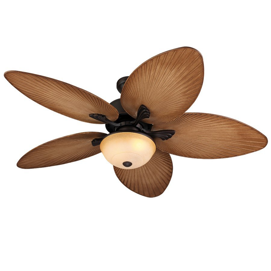 Harbor Breeze Chalmonte 52-in Dark Oil Rubbed Bronze Downrod or Close Mount Indoor/Outdoor Ceiling Fan with Light Kit and Remote