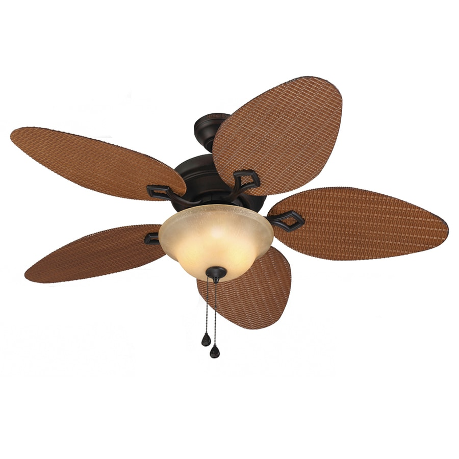 Harbor Breeze Bridgeford 44-in Aged Bronze Downrod or Close Mount Indoor/Outdoor Ceiling Fan with Light Kit