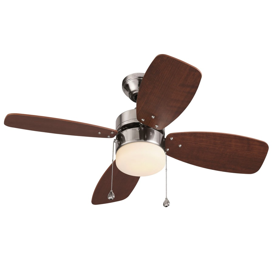 Harbor Breeze Riverview 36-in Brushed Nickel Downrod or Close Mount Indoor Ceiling Fan with Light Kit (4-Blade)