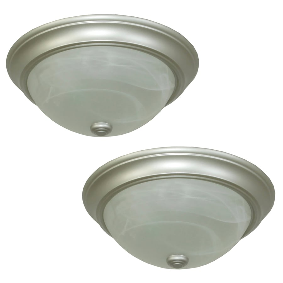 Project Source 2-Pack 13-in W Satin Nickel Flush Mount Light