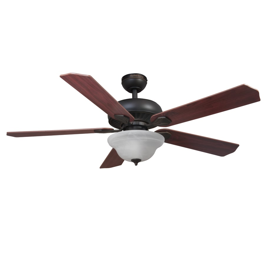 Harbor Breeze Crosswinds 52-in Oil rubbed bronze Indoor Downrod Or Close Mount Ceiling Fan with Light Kit and Remote