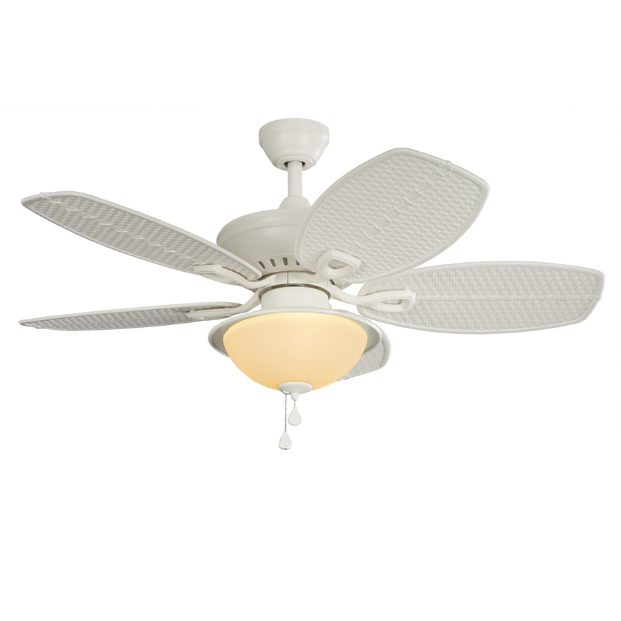 Shop Harbor Breeze Cedar Shoals 44-in White Indoor/Outdoor Downrod Or Close Mount Ceiling Fan ...