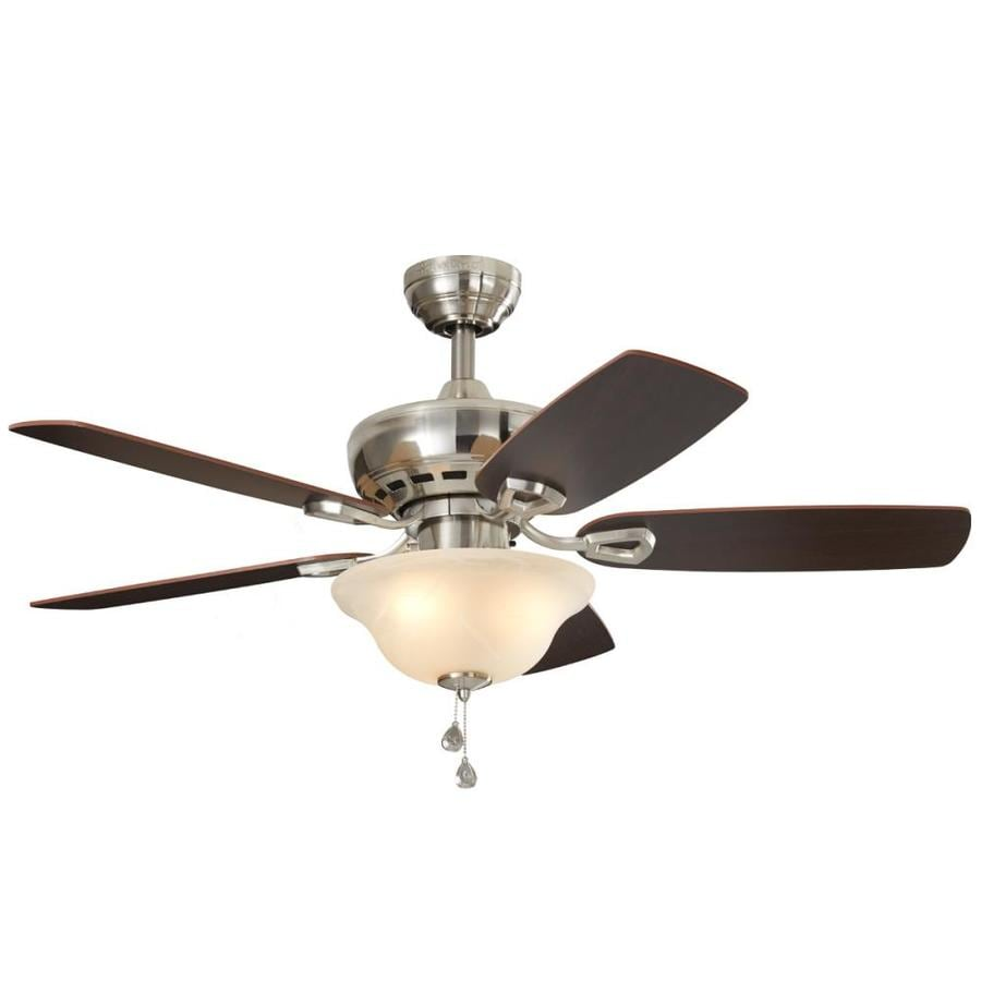 Shop ceiling fans below 100 at lowes harbor breeze sage cove 44 in satin nickel indoor ceiling fan with light kit aloadofball Image collections
