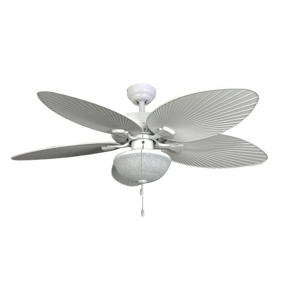 Palm Coast Playa Mia 52 In White Indoor Outdoor Ceiling Fan With Light Kit 5 Blade At Lowes Com