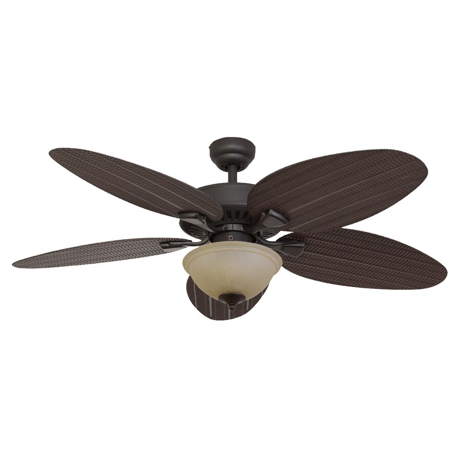 Palm Coast Summerland 52-in Bronze Downrod or Close Mount Indoor/Outdoor Ceiling Fan with Light Kit
