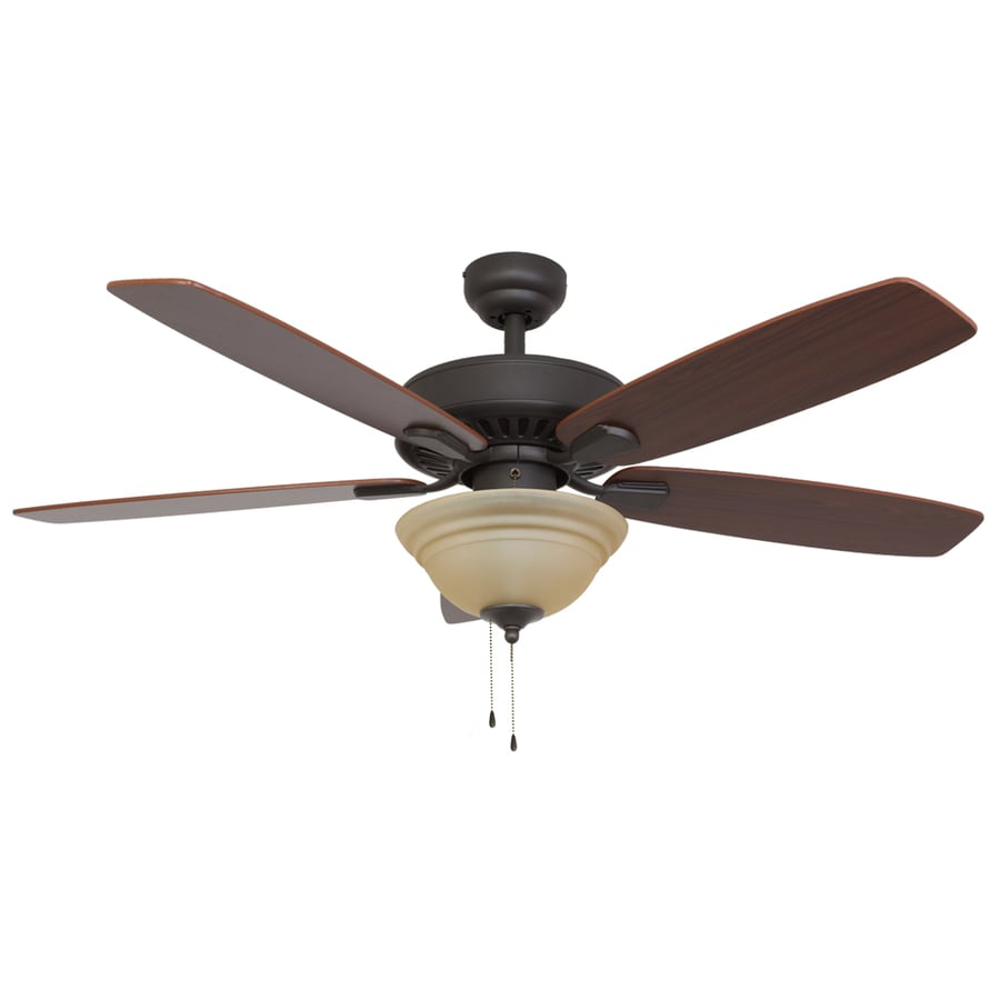 Palm Coast Oakleigh 52-in Bronze Indoor Downrod Or Close Mount Ceiling Fan with Light Kit and Remote