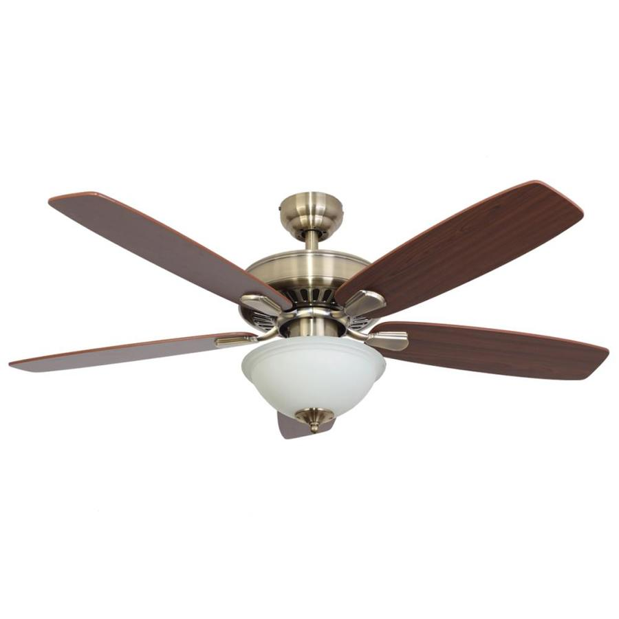 Palm Coast Oakleigh 52-in Aged Brass Indoor Downrod Or Close Mount Ceiling Fan with Light Kit and Remote