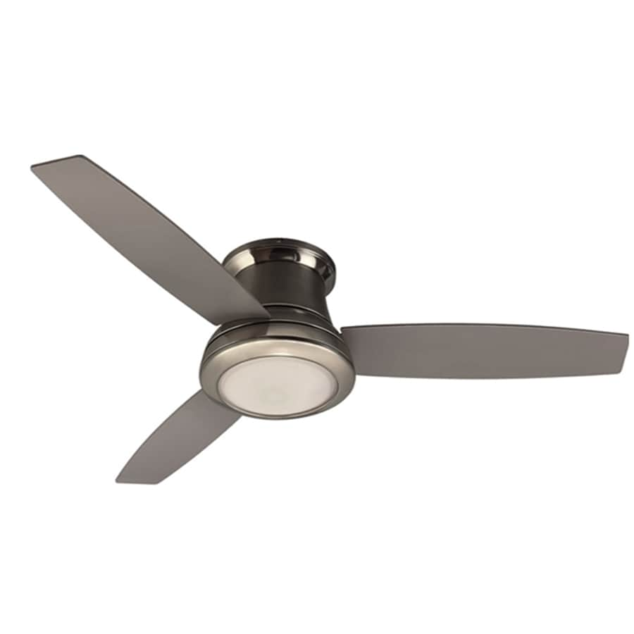 Shop Harbor Breeze Sail Stream 52-in Brushed nickel Indoor Flush Mount Ceiling Fan with Light ...