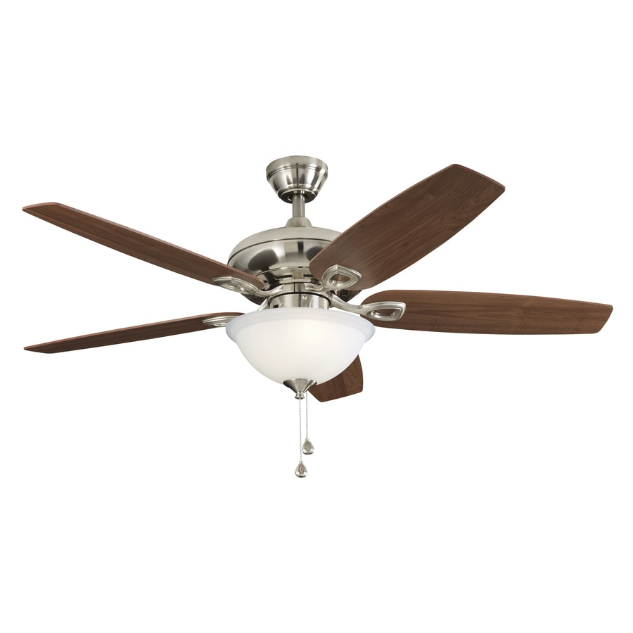 Harbor Breeze COASTAL CREEK 52-in Brushed Nickel Downrod or Close Mount Indoor Ceiling Fan with Light