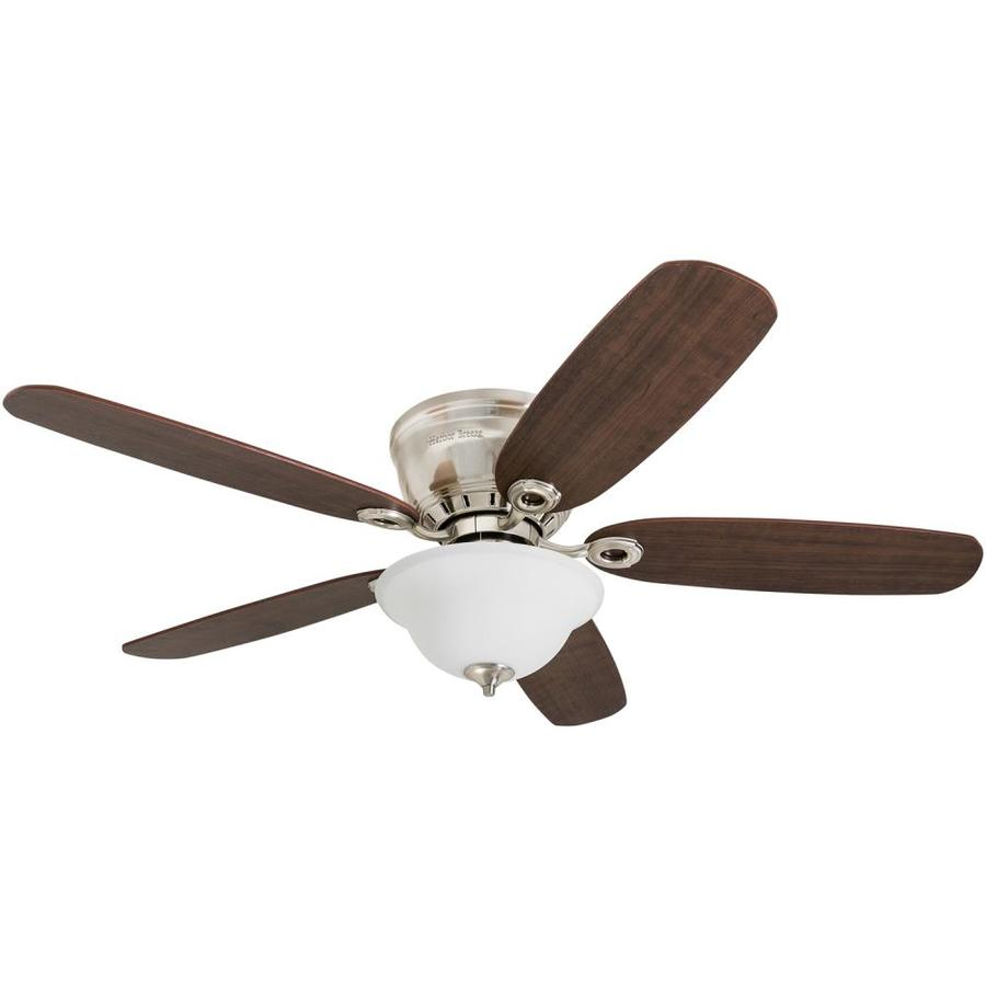 Harbor Breeze Pawtucket 52 In Brushed Nickel Indoor Flush Mount Ceiling Fan With Light Kit