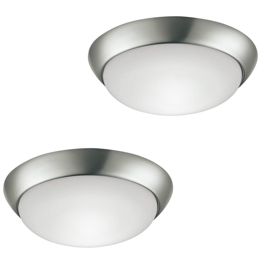 Shop Flush Mount Lights At Light Fixture Wiring 2 White Black Project Source Pack 11 In W Brushed Nickel Led Energy