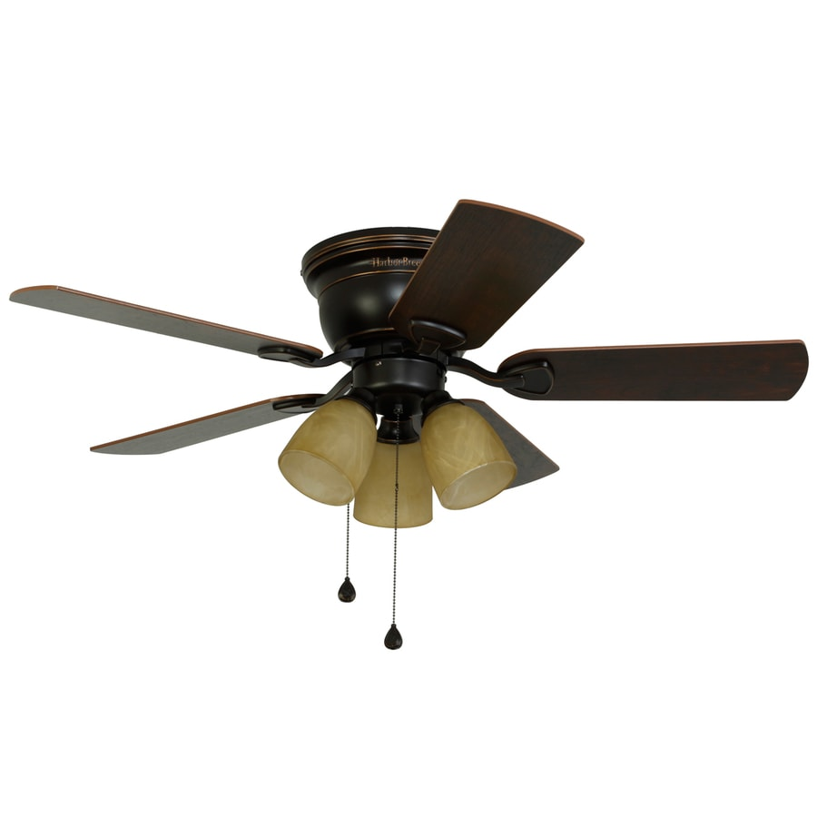 Harbor Breeze Centreville 42 In Oil Rubbed Bronze Indoor Flush Mount Ceiling Fan With Light