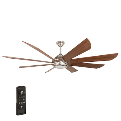 Hydra 70-in Brushed Nickel Indoor Residential Ceiling Fan with Light on