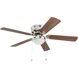 Harbor Breeze Armitage 52 In Brushed Nickel Led Indoor Flush Mount Ceiling Fan With Light