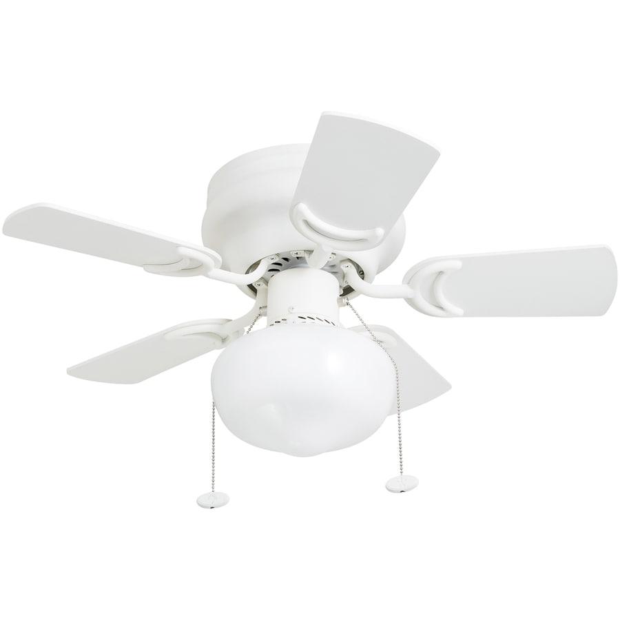 28-in White LED Indoor Flush Mount Ceiling Fan with Light Kit (5 ...