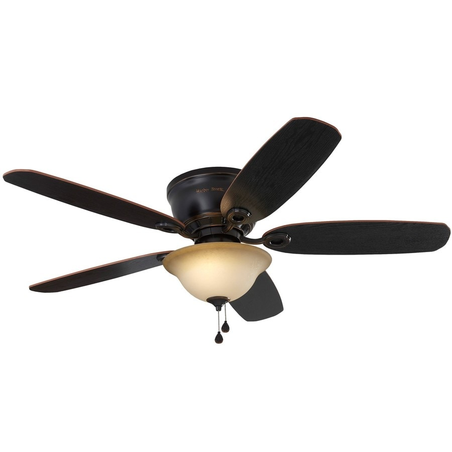 Harbor Breeze Lake Canton Bronze 52 In Led Indoor Flush Mount Ceiling Fan 5 Blade In The Ceiling Fans Department At Lowes Com