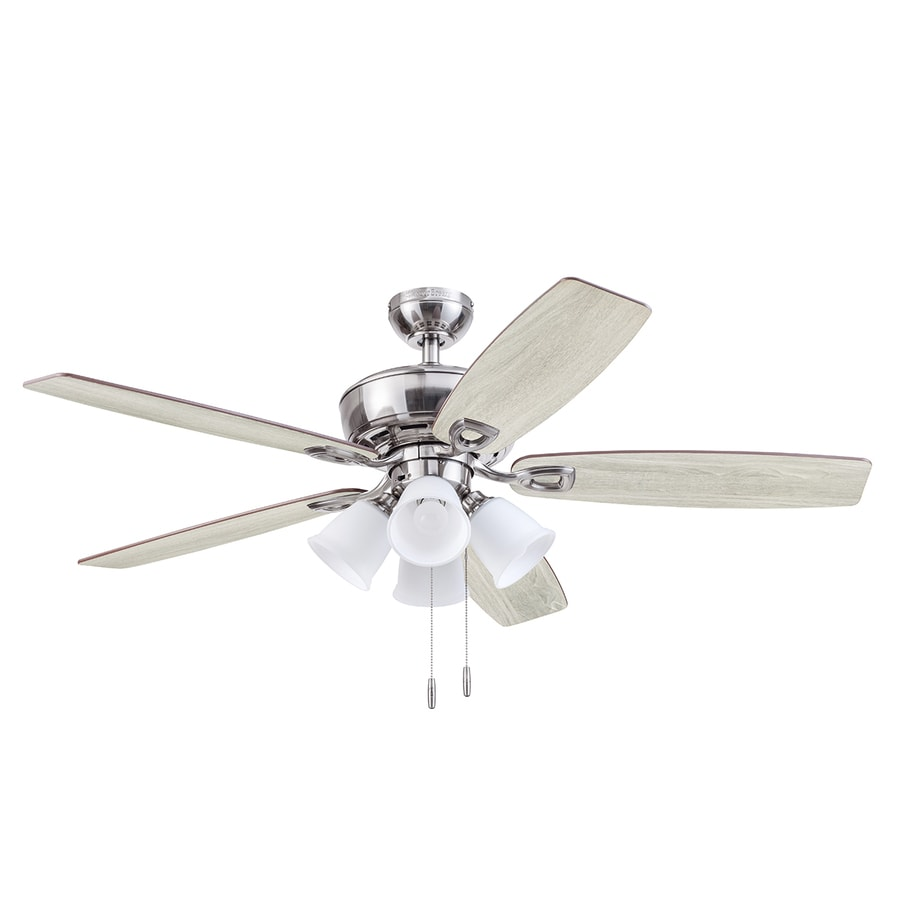 Harbor Breeze Notus Brushed Nickel 52 In Led Indoor Ceiling Fan 5 Blade In The Ceiling Fans Department At Lowes Com