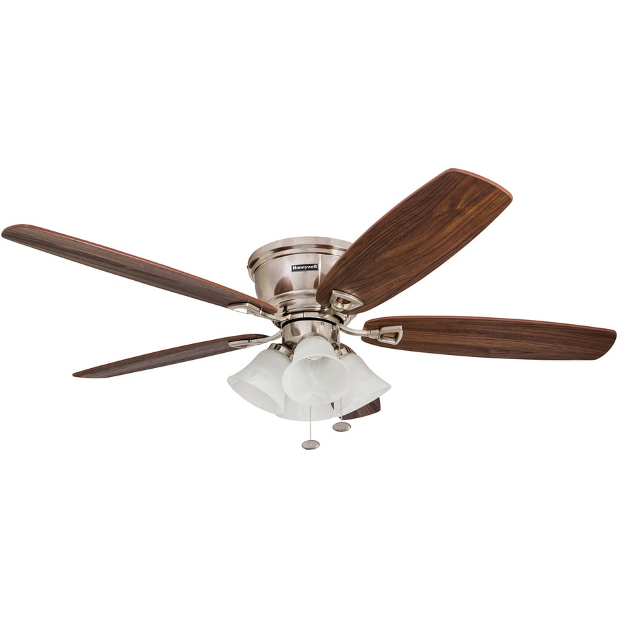 Ceiling Fans Mount: Honeywell Glen Alden 52-in Brushed Nickel Indoor Flush