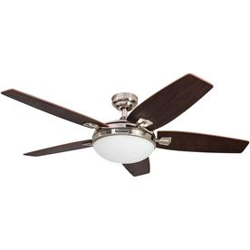 Shop ceiling fans at lowes honeywell carmel 48 in brushed nickel indoor downrod mount ceiling fan with light kit and aloadofball Choice Image