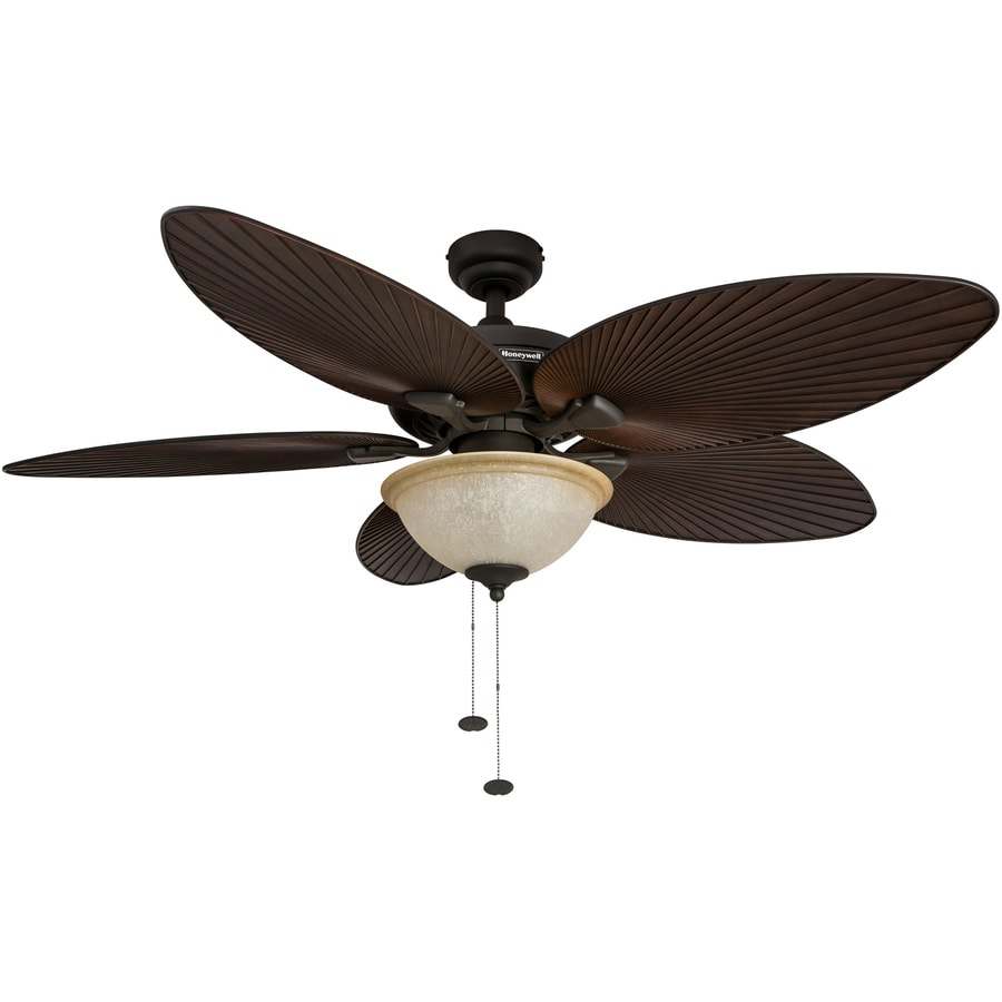 Ceiling Fan Light Kit Fan Tropical Outdoor Fans With: Shop Honeywell Palm Island 52-in Bronze Indoor/Outdoor