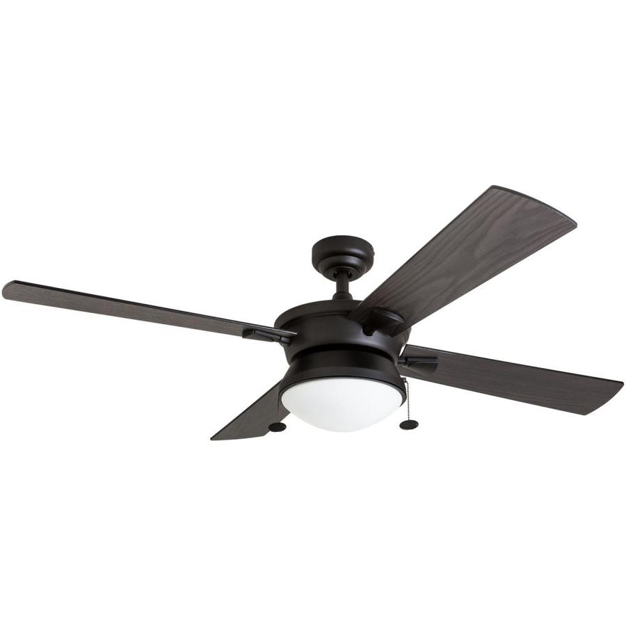 Prominence Home Auletta 52 In Matte Black Indoor Outdoor Ceiling Fan With Light Kit 4 Blade At