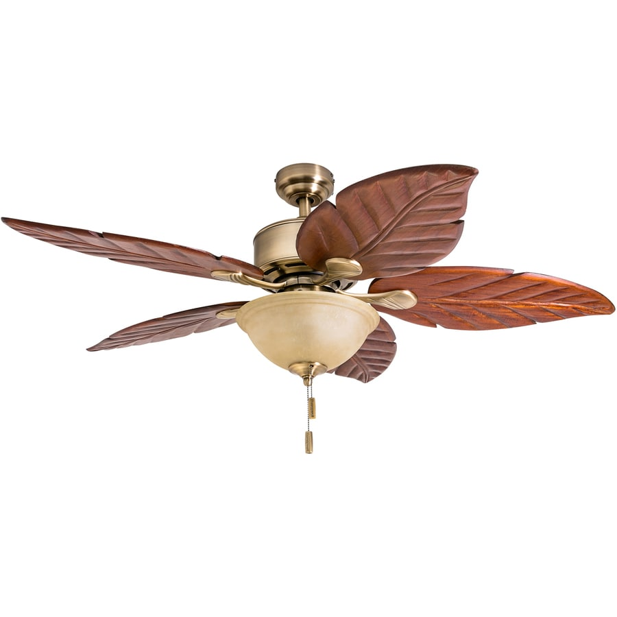 Ceiling Fan Light Kit Fan Tropical Outdoor Fans With: Shop Honeywell Sabal Palm 52-in Aged Brass LED Indoor