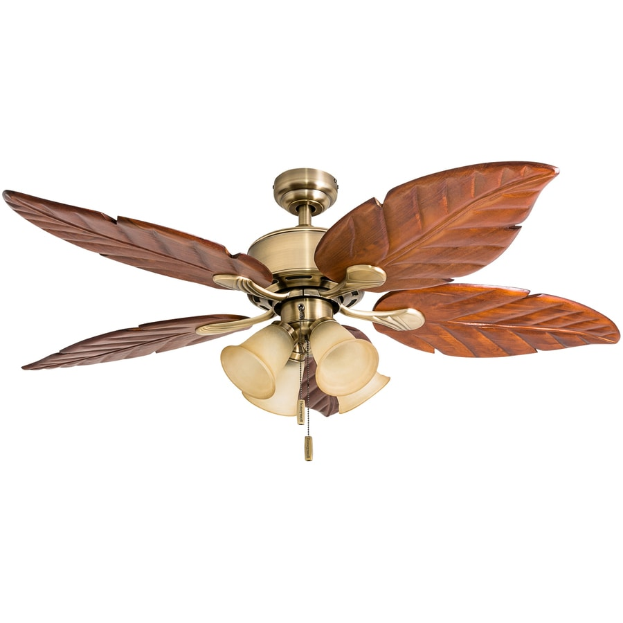 Honeywell Royal Palm 52 In Aged Brass Led Indoor Ceiling