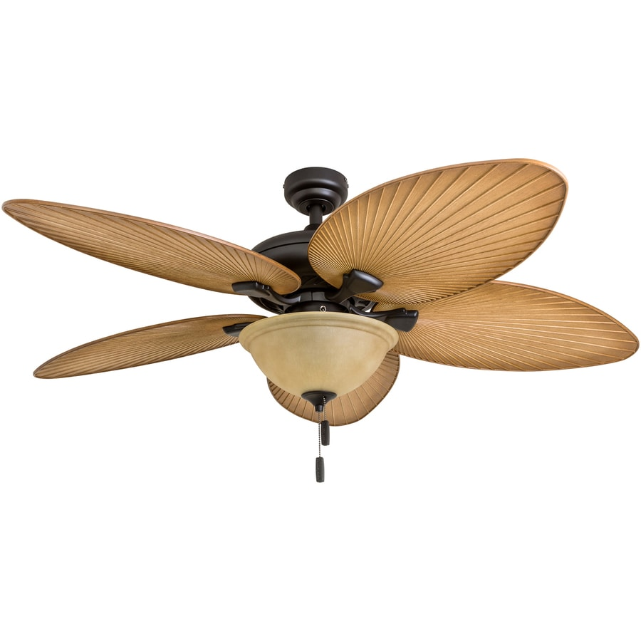 Outdoor Tropical Ceiling Fan: Honeywell Palm Valley 52-in Bronze LED Indoor Ceiling Fan