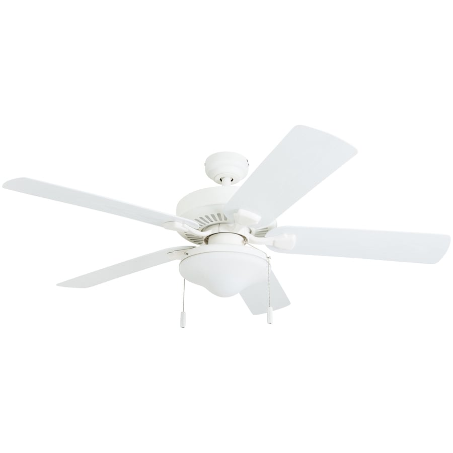 White Outdoor Ceiling Fan With Light: Honeywell Belmar 52-in White LED Indoor/Outdoor Ceiling