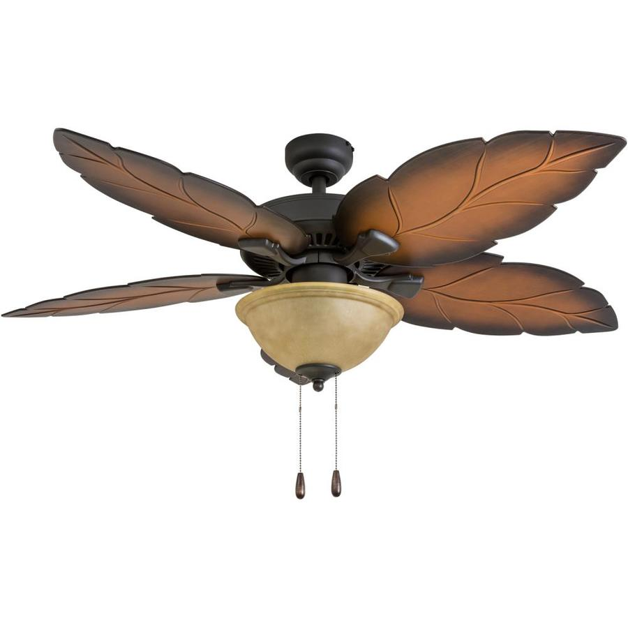 indoor tropical ceiling fans with lights palm leaf palm coast bay island 52in tropical bronze indoor ceiling fan with light kit shop