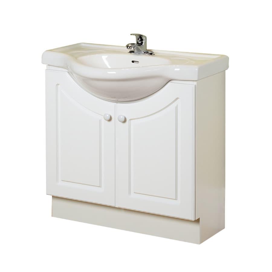 "Lowes Bathroom Vanities White: Shop Magick Woods 32"" White Eurostone Bath Vanity With Top"