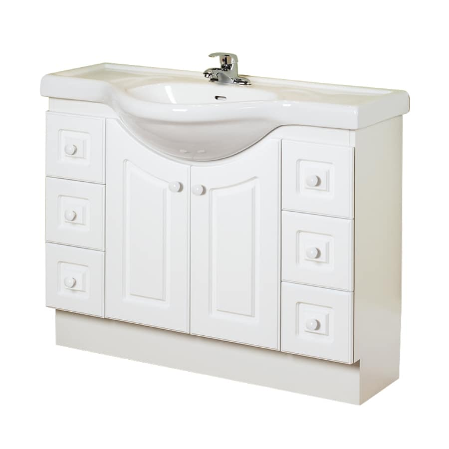 Magick woods 39 in white eurostone single sink bathroom - Lowes single sink bathroom vanity ...