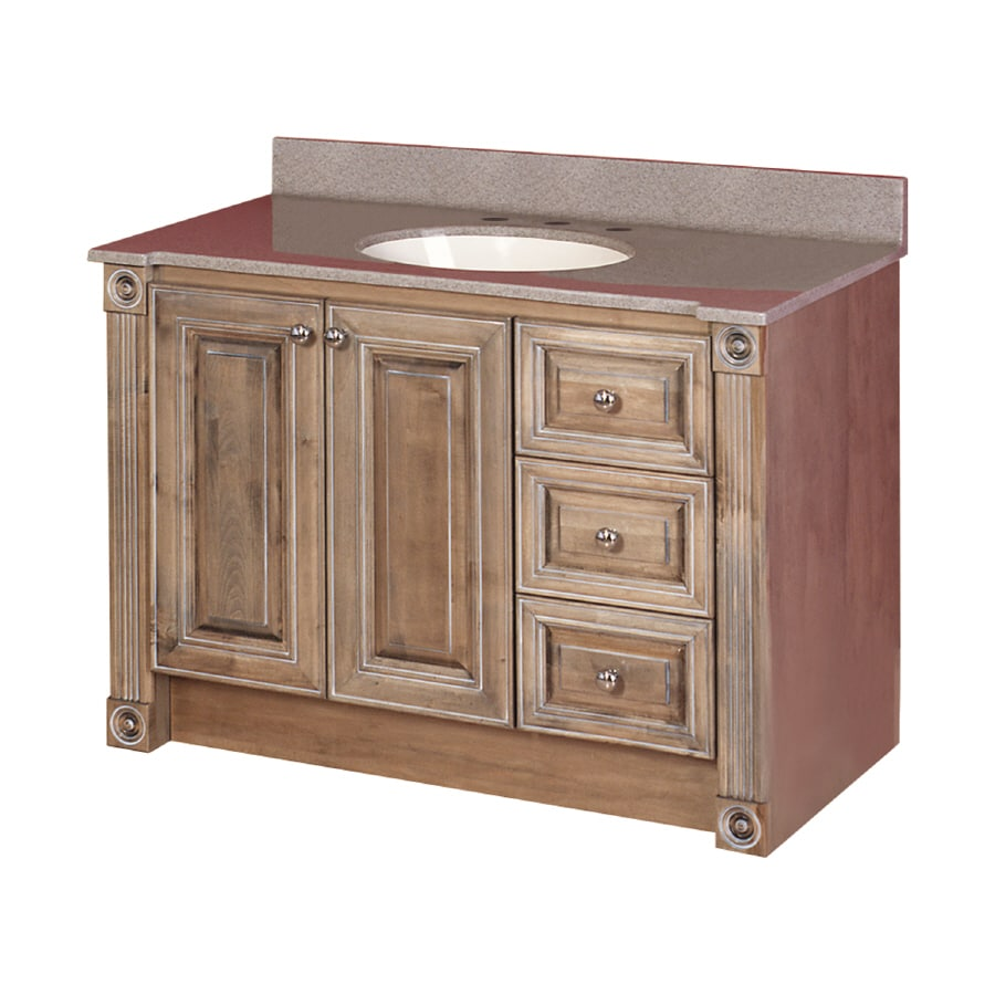 Shop magick woods 42 rustic glazed duchess traditional bath vanity at for Rustic bathroom vanities lowes